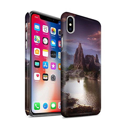 Offiziell Elena Dudina Hülle / Matte Snap-On Case für Apple iPhone X/10 / Berg-Lagune Muster / Fantasie Landschaft Kollektion Berg-Lagune