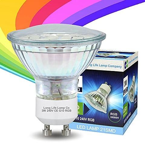 Long Life Lamp Ampoule LED GU10 RVB 3W avec changement de couleur rouge bleu vert automatique