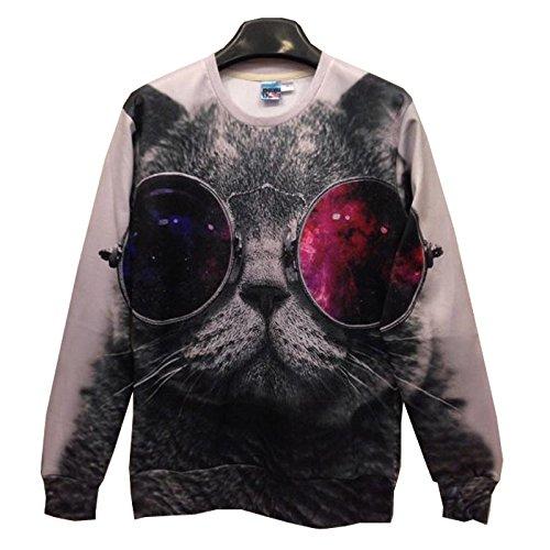 TOPDCLSN Männer/Frauen Rote und Blaue Gläser cat Pullover Lustige 3D-Sweatshirts Tier Galaxy Hoodie Hoodies top, SWT23, XXL
