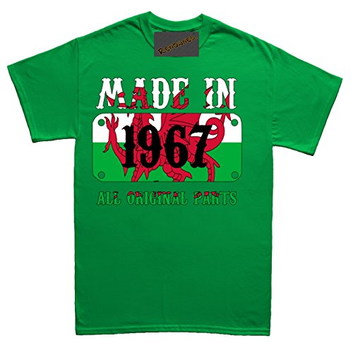 Renowned Made in Wales in 1967 all original Parts Welsh Flag inside Unisex - Kinder T Shirt Grün