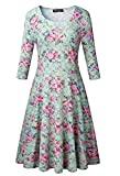 Measoul Women's Casual 3/4 Sleeve Floral Printed Cocktail Dress