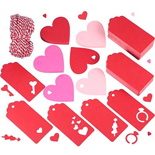 200 pezzi rosso regalo etichette di carta kraft tag san valentino a cuore etiechette appeso etichette in 8 stili design concavo con 197 ft spago