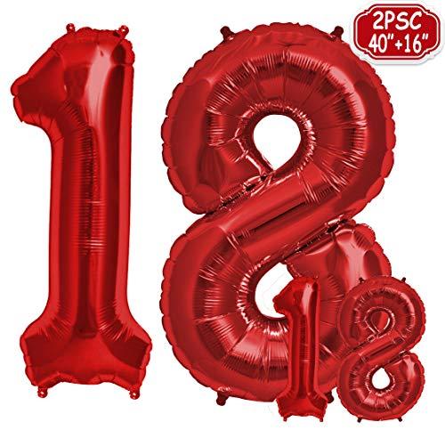 """Folienballon Zahl in Rot 2 Stück - 40\"""" + 16\""""- Riesenzahl und kleine ballons Folienballons für Luft und Helium als Geburtstag, Hochzeit , Jubiläum oder Abschluss Geschenk , Party Dekoration (Rot[ 18 ])"""