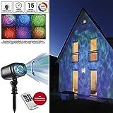 EASYmaxx 06207 LED Projektionslampe Sternenhimmel | Projektor für mehrfarbige Lichteffekte | Beleuchtung mit Farbwechsel & Fernbedienung | Wasserdicht