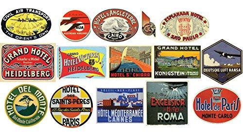 Vintage Hotel Equipaje etiqueta-pegatinas 15unidades Maleta viaje adhesivos