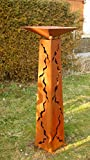 Gartendeko Rost Säule konisch mit Schale
