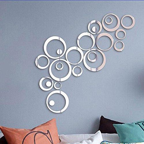 Stonges Kristall 3D Spiegel Wandaufkleber Acryl Stereo Kreis DIY Wandaufkleber Schlafzimmer Wohnzimmer Wandbild (silber)