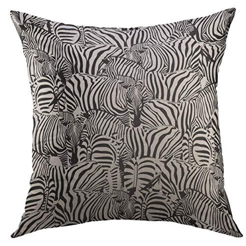 FPDecor Dekorativ Kissenbezug, Pillow Cover Stripes Africa Zebra Savannah Animal Wild Striped Black White Trendy African Home Decorative Square Throw Pillow Cushion Cover 18x18 Inches Pillowcase Wild One Black Zebra