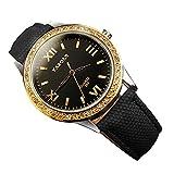 YaZhuoLun Damen-Armbanduhr,Wasserdicht Quarzwerk Uhren Uhr,Durchmesser 4 cm Dicke 9 mm(Schwarz)
