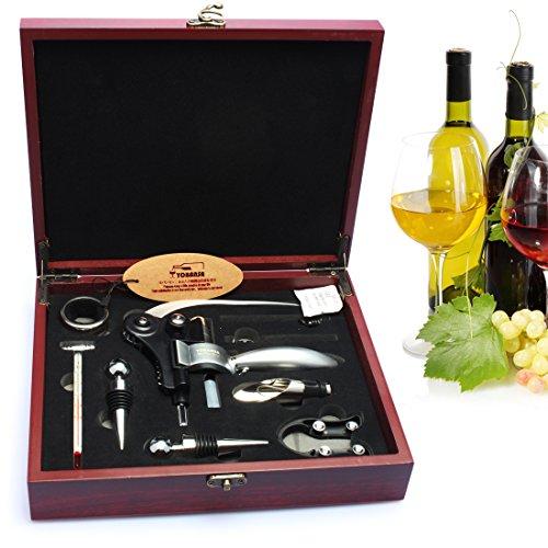 yobansa 9PCS Edelstahl Wein Öffner-Set Wein Bier Zubehör Geschenk Set Einzigartiges Geschenk für Weinliebhaber Wooden Case