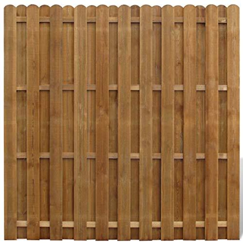 mewmewcat Gartenzaun | Sichtschutzzaun | Dichtzaun | Holz Zaun | Zaunelemente | Senkrechtes Profil Kiefernholz 180 x 180 cm