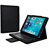 Cooper Cases(TM) CEO Apple iPad Air 2 Folio-Hülle mit Tastatur in Schwarz (magnetische, abnehmbare US-englische QWERTY Tastatur, spezielle Funktionstasten, Kamera-Fernauslöser, integrierter Ständer)