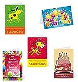Kibano 10er Set hochwertige Geburtstagskarte Kinder | Glückwunschkarte 5 Motive + weiße Briefumschläge (Design No.1)
