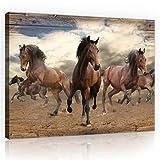 DekoShop Leinwandbild Canvas Wandbild Kunstdruck Pferde im Galopp auf Holzplanken AMDPP10083O1 O1 (100cm. x 75cm.)