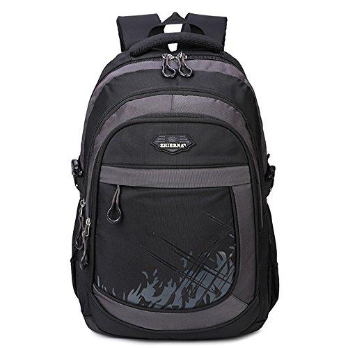 """5 ALL Rucksack 3 Fächer Groß 15,6""""Laptop Schulrucksack Daypack Schulranzen für Damen Herren Jungen Mädchen Kinder (Schwarz)"""