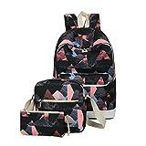 Damen Rucksack, ACMEDE 3 Teiliges Schulrucksack-Set Top-Model Schultasche + Umhängetasche + Mäppchen Uni Rucksack für Schüler/Studenten/Azubis