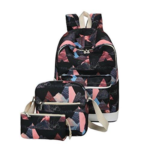Damen Rucksack, ACMEDE 3 Teiliges Schulrucksack-Set Top-Model Schultasche + Umhängetasche + Mäppchen Uni Rucksack für Schüler/Studenten/Azubis Schwarz
