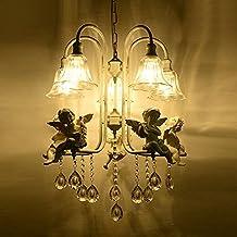 CNMKLM Unión de resina blanca/Arpa Violín Angel Salón candelabros de cristal el techo de la sala de estudio de tulipa de luces colgantes dormitorio mediterránea lámpara colgante de cristal