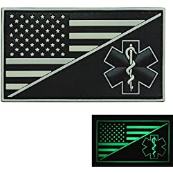 2AFTER1 Glow Dark USA American Flag EMS EMT Star of Life Paramedic Medic Tactical Morale GITD PVC Rubber Touch Fastener