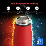 Water Bottle, Landnics Stainless Steel Bottles 520ml(18.3oz), 12 Hrs Hot, 24 Hrs Cold Vacuum Double Wall Thermos, BPA Free Vacuum Drink Flasks for Kids, Adults, Camping, Hiking, Office (Red)