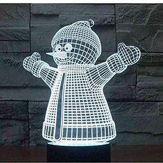 GZGNL 3D Led luz de la noche de Navidad muñeco de nieve Yeti con 7 colores de luz para la decoración del hogar lámpara increíble visualización ilusión óptica Aw