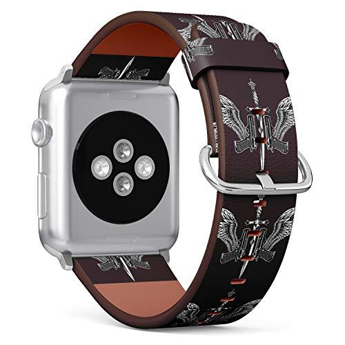 R-Rong kompatibel Watch Armband, Echtes Leder Uhrenarmband f¨¹r Apple Watch Series 4/3/2/1 Sport Edition 38/40mm - Pistol Gun, Sword and Wing Tattoo Design -