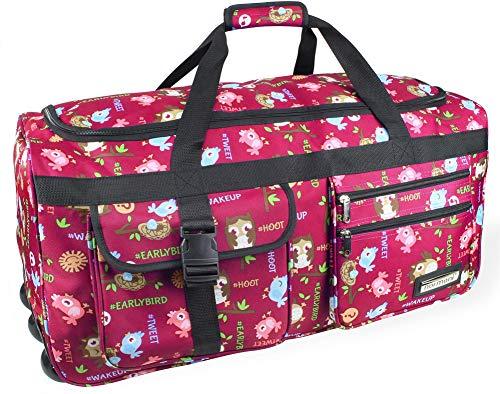 normani XXL Tasche Reisetasche Jumbo Travel-Bag mit Rollen mit viel Volumen Farbe Eule