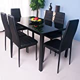 Life Carver 7 Pieces Dining Table and 6 Chairs Set Modern Home Kitchen Furniture Dinning Room Sets (Black 6 Seat Set)