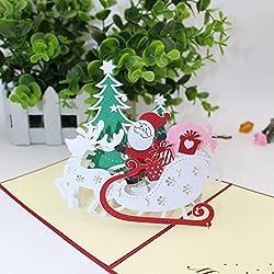 sansee 3d Pop Up Tarjetas de Navidad cumpleaños aniversario regalo gracias tarjetas de felicitación postal, color Multicolor A