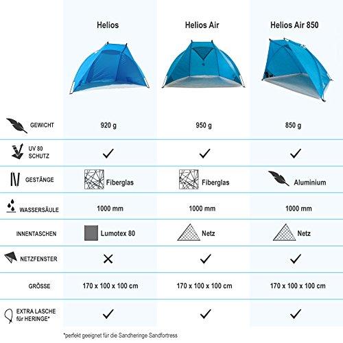 Outdoorer Strandmuschel Helios, blau, UV 60, extra leicht, Minipackmaß - 9