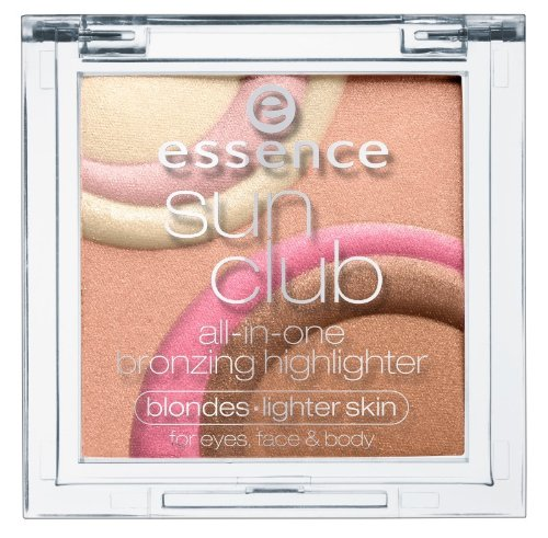 Essence Sun Club all-in-one bronzing highlighter for eyes, face & body Nr. 01 sun light Inhalt: 9g Highlighterpowder for blondes & light Skin Schimmerpuder für Gesicht und Körper, damit kann man ein strahlen ins Gesicht zaubern. (Sun Highlighter)