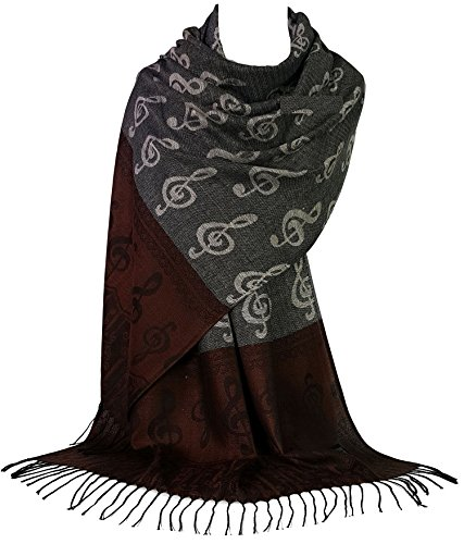 Gfm® sciarpa in stile pashmina con note musicali. (mup2-hlkekghkek )