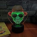 L2eD Lampade 3D Led Luce Notturna, Illuminazione Luce Di Notte 7 Colori Controllo Tattile Lampada Comodino Cavo USB O Batteria Cowboy Fumatore Di Colore Sfumato