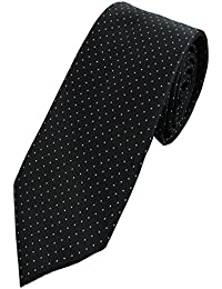COLLAR AND CUFFS LONDON - HIGH QUALITY Handmade Tie - A Timeless Classic - Black With White Dots