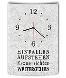 LAUTLOSE Designer Wanduhr mit Spruch Hinfallen aufstehen Krone richten weitergehen grau Betonoptik modern Deko Schild Abstrakt Bild 41 x 28cm