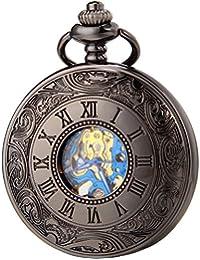SEWOR Vintage azul para hombre números romanos Flor Reloj de bolsillo Classic negro