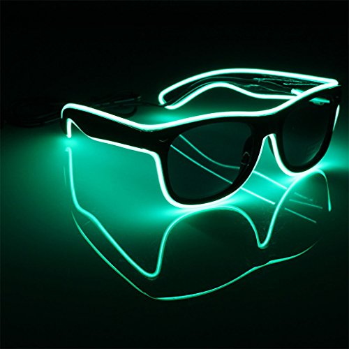 Originaltree LED Gläser EL Wire Light-Up Glow Sonnenbrillen Rahmen Beleuchtete Eyewear Nightclub Party (Leuchtendes Grün) (Led Sonnenbrille)