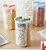 Zollyss Transparent Plastic Lock Food Storage Dispenser Airtight Container Jar with 4 Sections