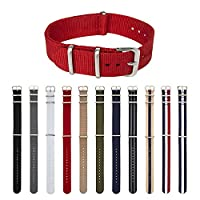 ARCHER Watch Straps, Premium Nylon NATO Straps, Choice of Color and Size (Red, 20mm)