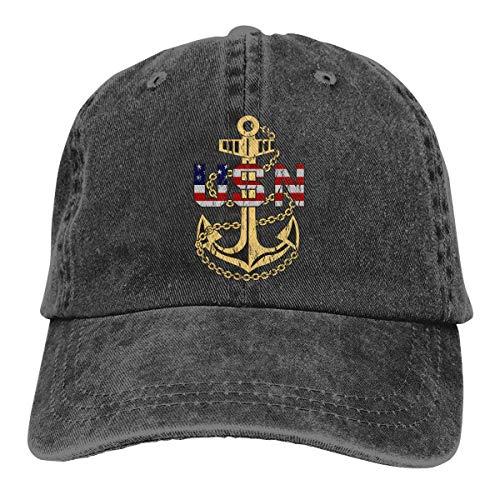 Qialia US Navy Chief Petty Officer Unisex Adult Cap Adjustable Cowboys Hats Baseball Cap Fun Casquette Cap Black (Us-navy Chief)