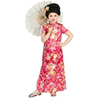 Funny Fashion Traje de niño Vestido chino de niña Hanako rosado/colorido carnaval Chica asiática (116)