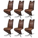 Festnight 6 Stücke Esszimmerstuhl Essstuhl Freischwinger mit Kunstlederpolster Küchen Stühle Sitzgruppe H-förmiger Standfuß Braun