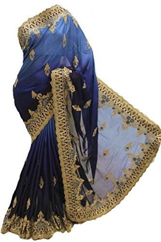 RUBS2969 Elegante abito blu scuro e turchese Indian Bollywood Party Saree Blu