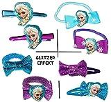 alles-meine.de GmbH 6 TLG. Set __ Haarspangen UND Haargummis -  Disney die Eiskönigin - Frozen  - Glitzer Effekt - für Kinder Mädchen - Schmuck Haarschmuck - Haargummi - Zöpfch..