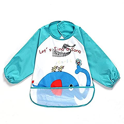 Oral-Q unisex children, childs art-craft painting, apron for baby, waterproof bib with sleeves & pocket, 6-36months, blue elephant, series 1.