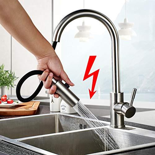 BONADE Ausziehbare Niederdruck Küchenarmatur mit Brause 360° drehbare Niederdruckarmatur aus 304 Edelstahl Armatur Wasserhahn Spültisch Mischbatterie Küche Spüle