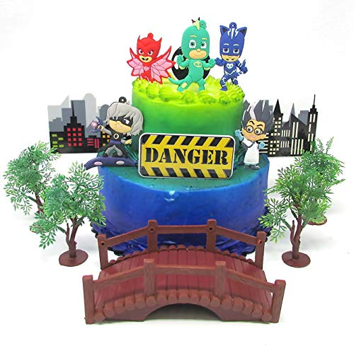 Super Hero PJ Masks - Juego de decoración para tarta de cumpleaños con personajes de PJ Masks y accesorios decorativos temáticos