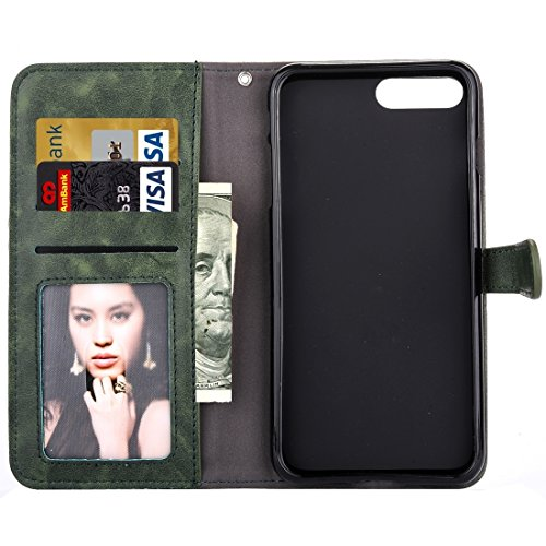 Hülle für iPhone 7 plus , Schutzhülle Für iPhone 7 Plus Stickerei Blumenmuster Horizontale Flip Leder Tasche mit Halter & Card Slots & Wallet & Photo Frame ,hülle für iPhone 7 plus , case for iphone 7 Army green