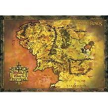 """Póster """"El Señor de los Anillos"""" Mapa de la Tierra Media (91,5cm x 61cm) + 1 póster sorpresa de regalo"""
