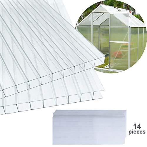 Hengda Hohlkammerstegplatten für Gewächshaus Garten Treibhaus Ersatzplatten 14x Polycarbonat Doppelstegplatte (60.5 x 121cm) 4mm | 10,25 m²